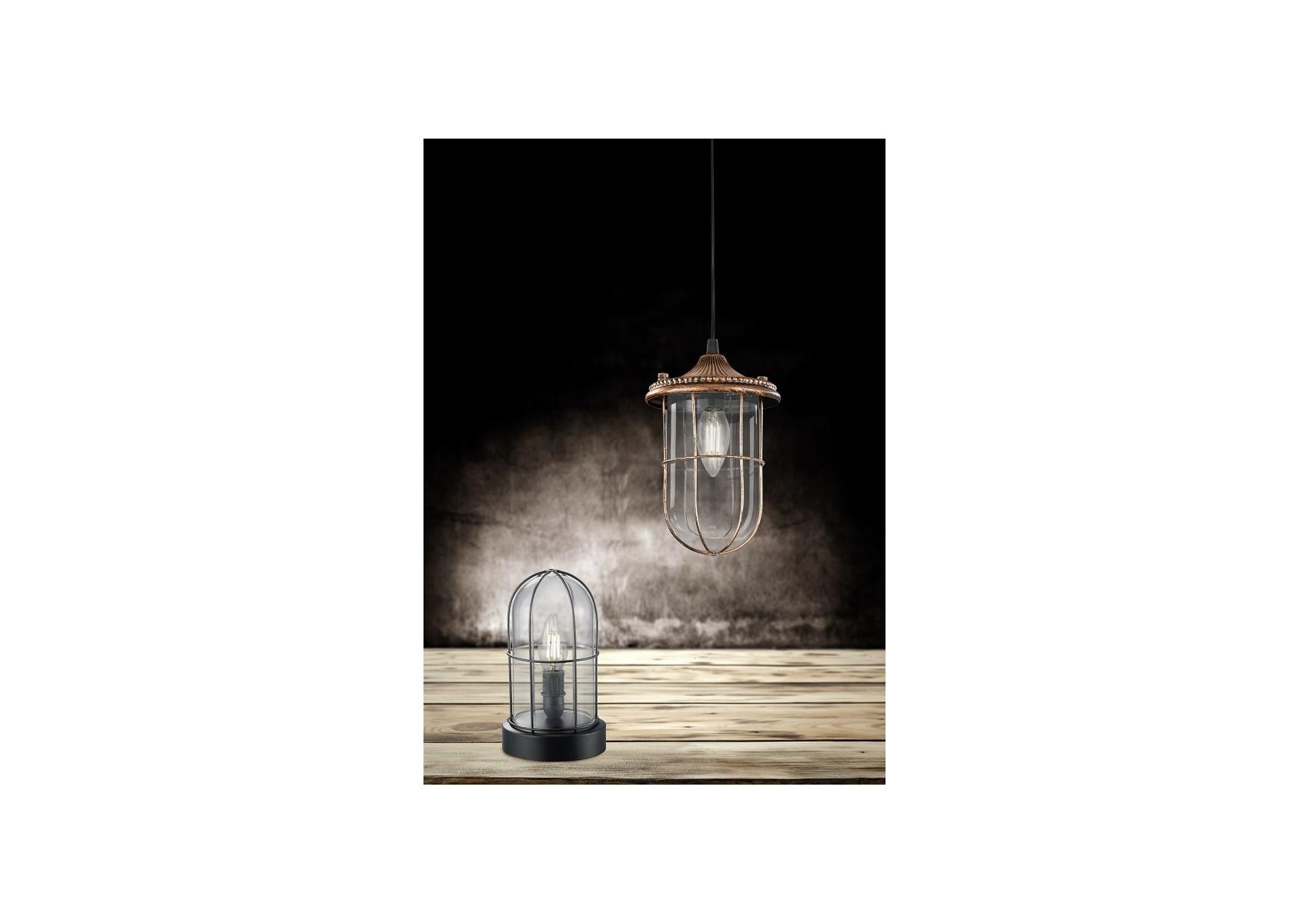 Lampe poser industrielle de la collection birte de chez trio for Lampe a poser industrielle