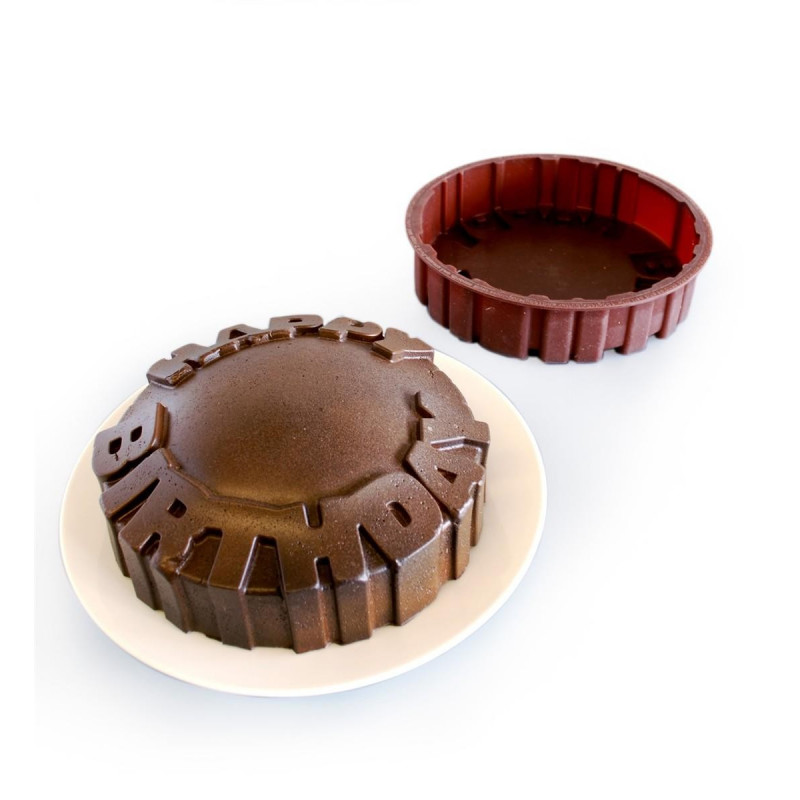 "Moule silicone Gateau design ""Happy Birthday"""