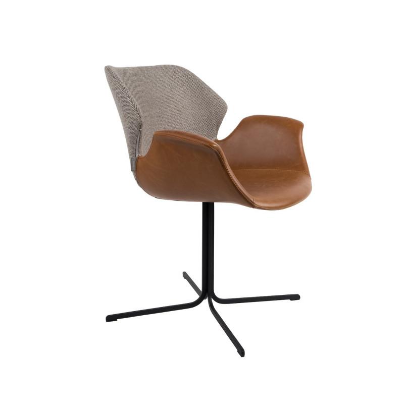 Fauteuil design cuir et tissu - NIkki