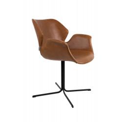 Fauteuil design cuir PU marron Nikki