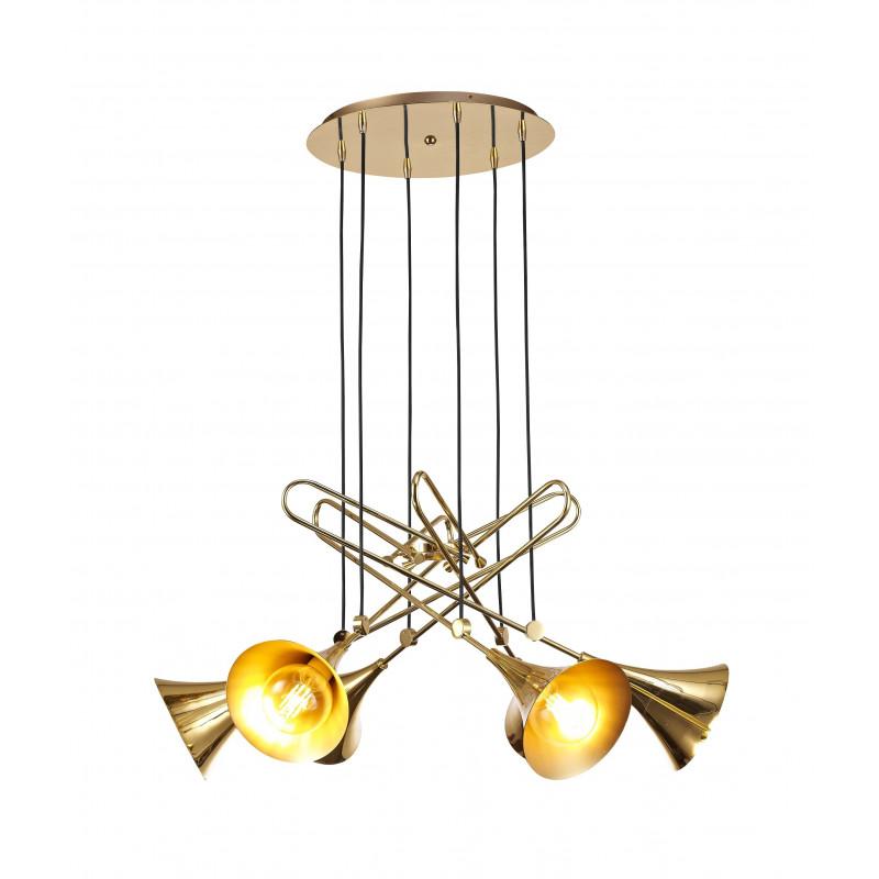 Grande suspension Jazz couleur or six lampes