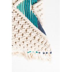 Coussin EVI design brodé bleu et ivoire - Zuiver