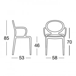4 Chaises GIO avec accoudoirs par Scab design