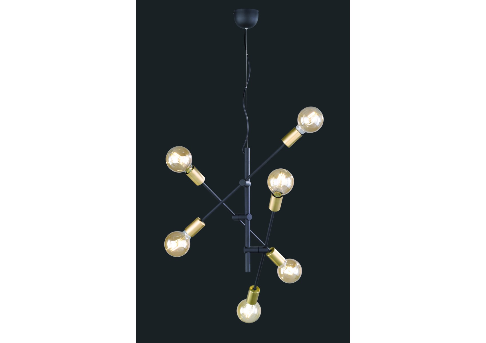 Suspension design cross noir et or pour un clairage de for Suspension luminaire noir et or