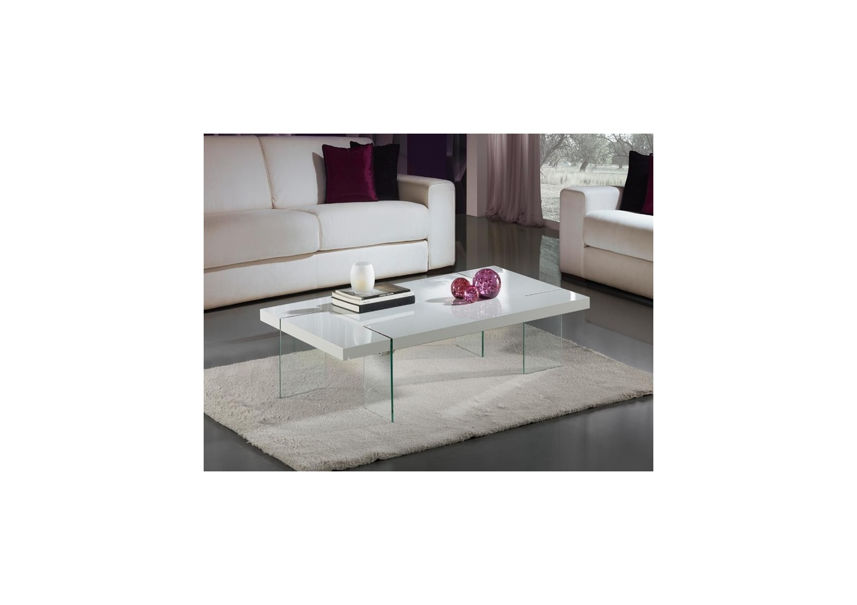 Table basse design laqu blanc et verre tremp brisa - Table basse verre et blanc ...