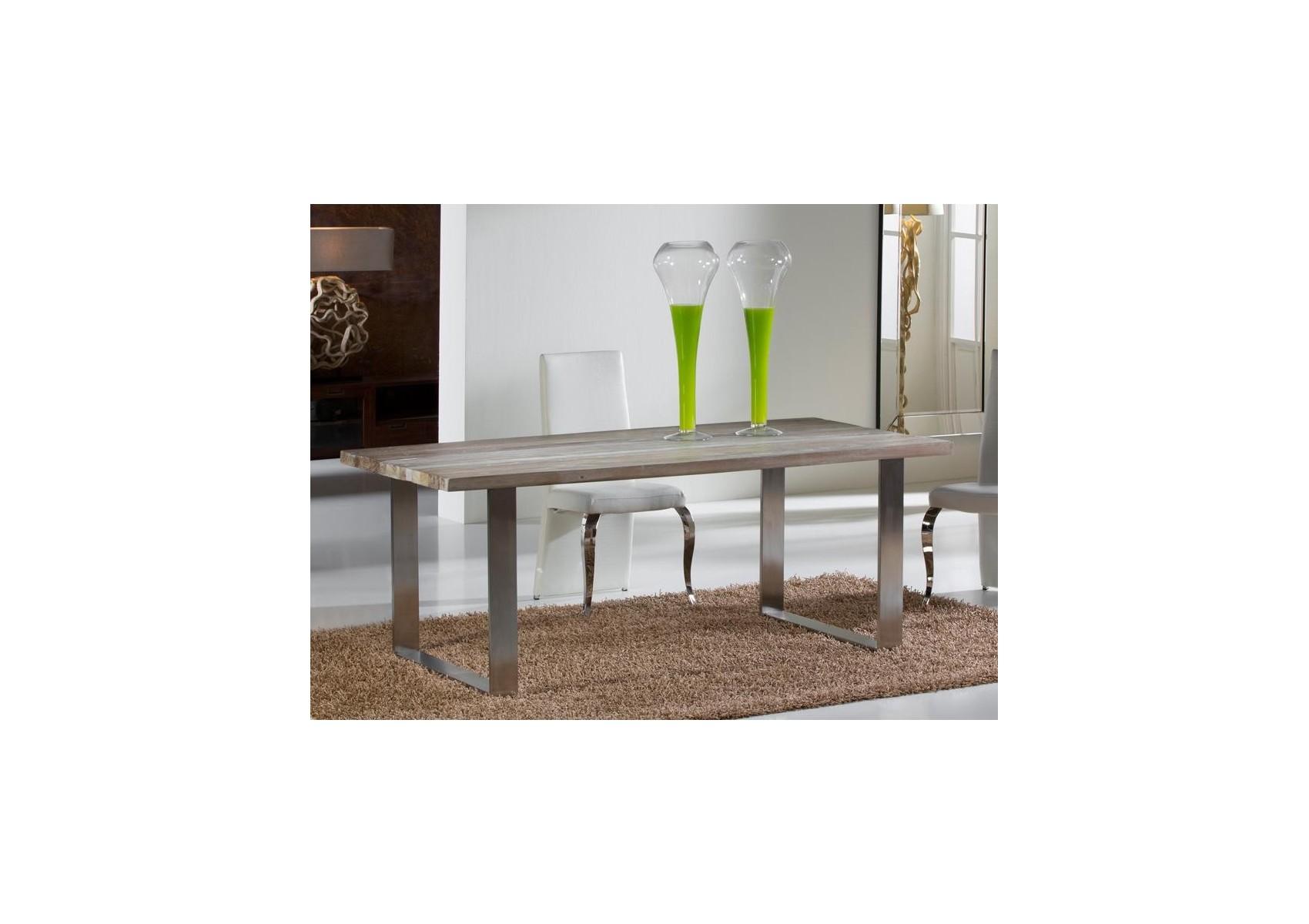 Table design de salle manger en bois ancien et acier for Table de salle a manger style ancien