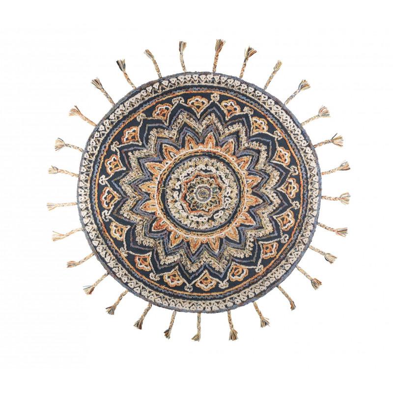 tapis rond ethnique frange pix dutchbone. Black Bedroom Furniture Sets. Home Design Ideas