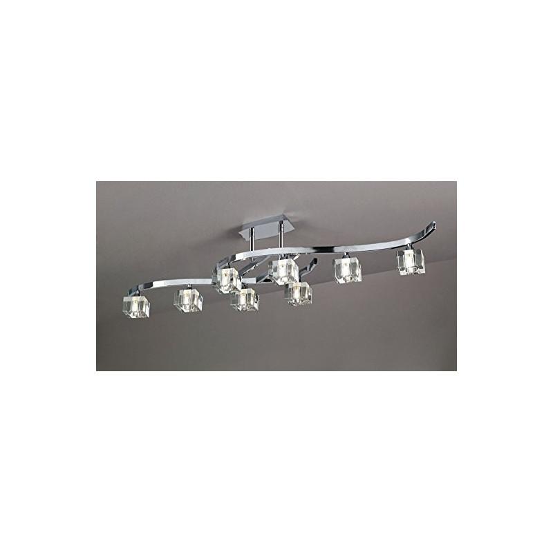 Semi plafonnier Cuadrax 8L verre optique Mantra