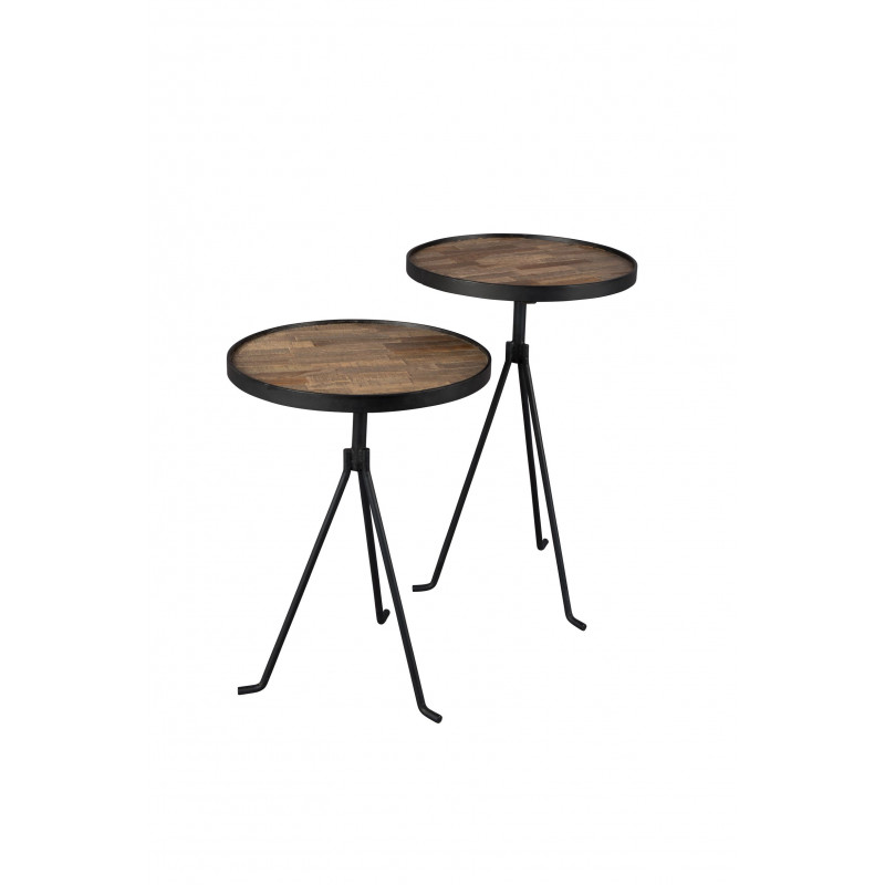 Set de deux tables d'appoint industrielles Tides Dutch Bone