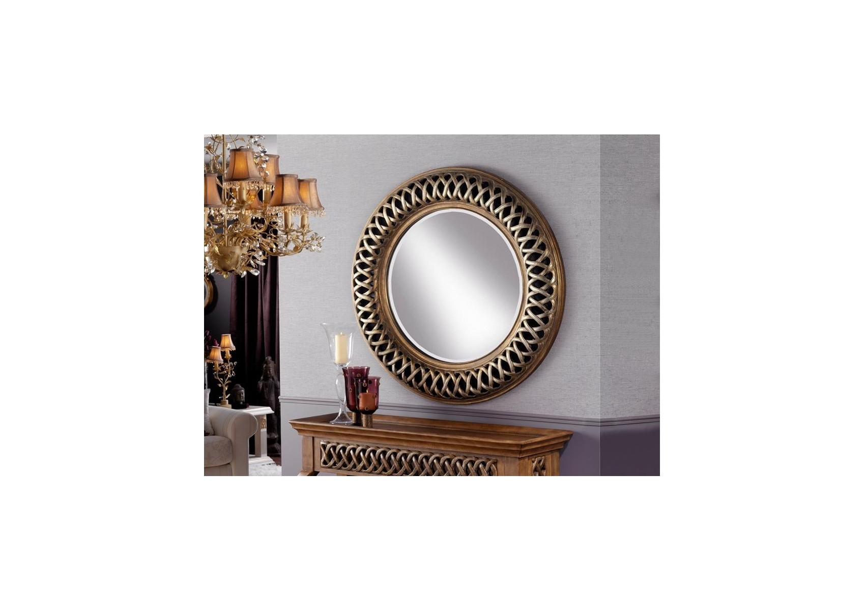miroir original design rond ajoure argent et or deco. Black Bedroom Furniture Sets. Home Design Ideas