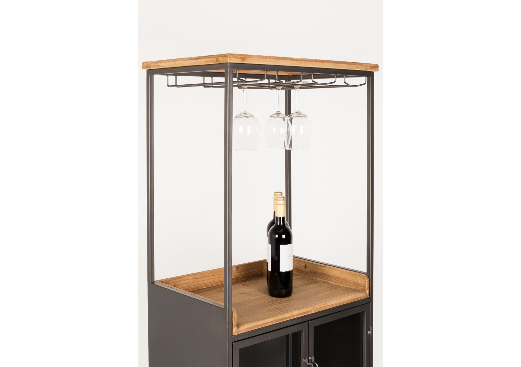 meuble bar vin en bois et m tal diaman boite design. Black Bedroom Furniture Sets. Home Design Ideas