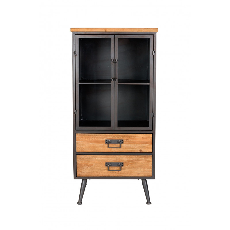 petite vitrine industrielle bois et m tal damian boite design. Black Bedroom Furniture Sets. Home Design Ideas
