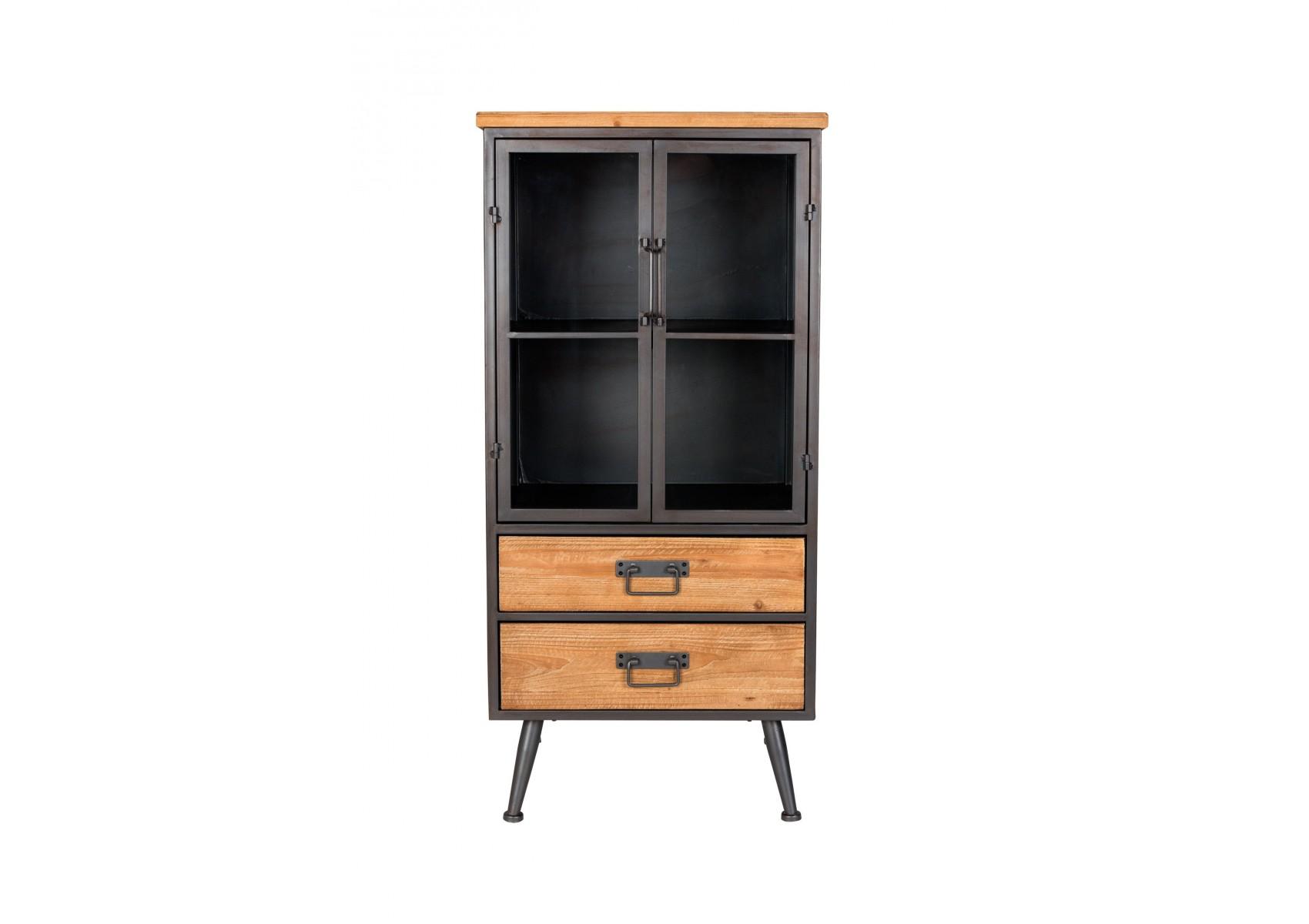 Petite vitrine industrielle bois et m tal damian boite for Vitrine industrielle