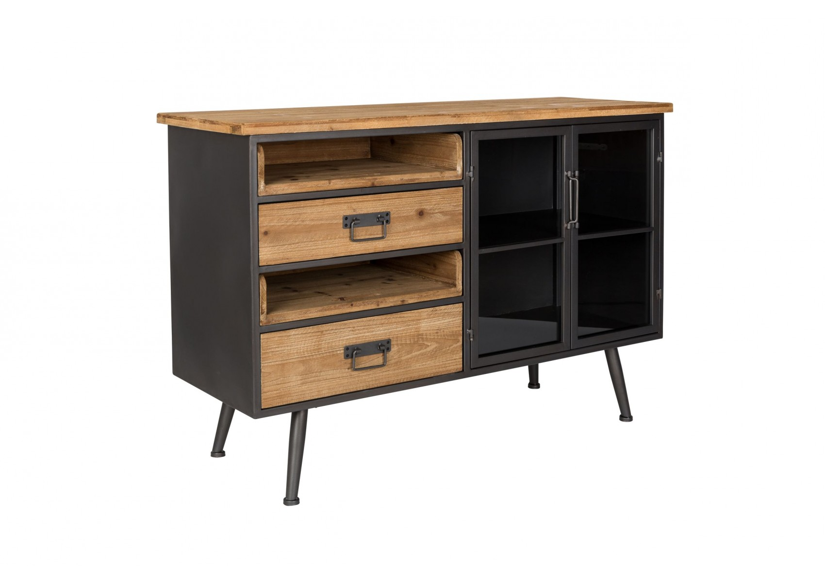 buffet style industriel bois et m tal damian boite design. Black Bedroom Furniture Sets. Home Design Ideas