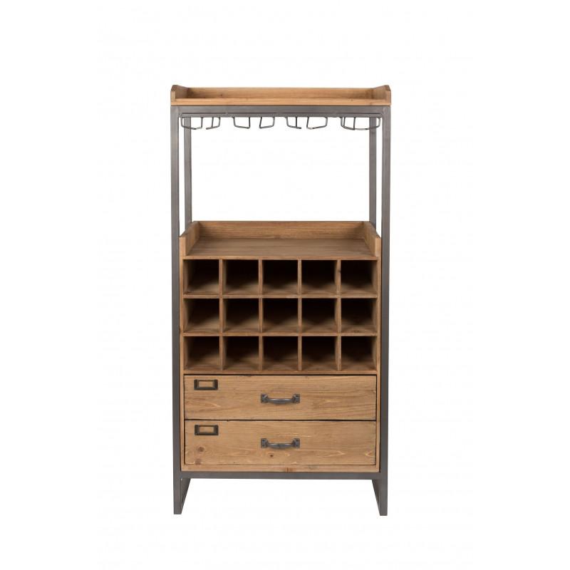Meuble bar vin en bois et m tal edgar boite design for Meuble a vin en bois
