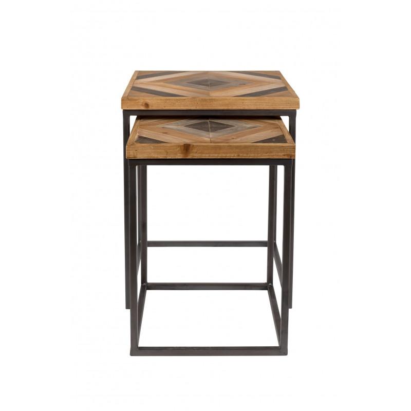 Table De Salon Gigogne.Table Basse Gigogne Industrielle Bois Et Metal Joy Boite A Design