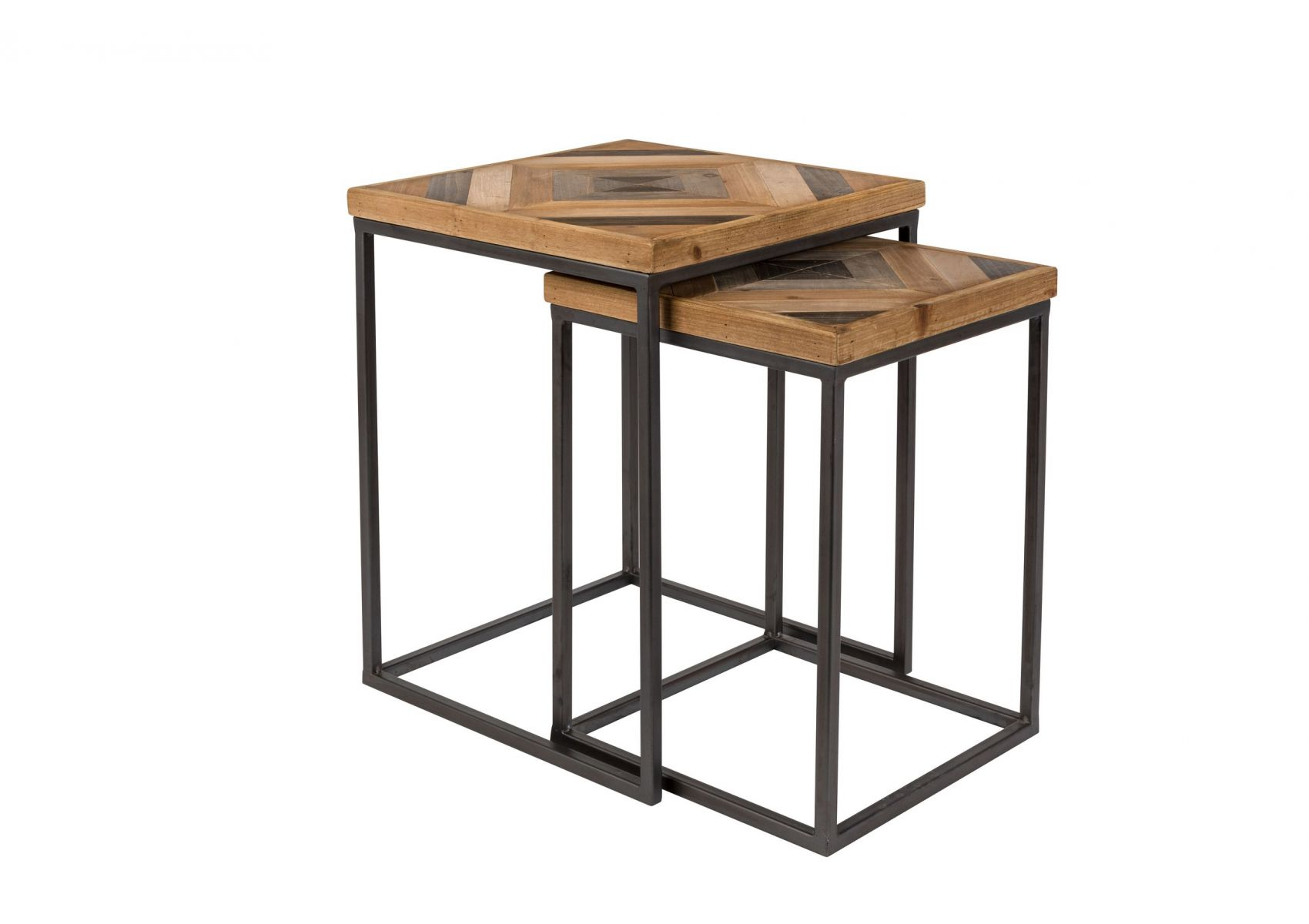 table basse gigogne industrielle bois et m tal joy boite design. Black Bedroom Furniture Sets. Home Design Ideas