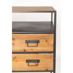 Console bois massif et métal style industriel Samuel - Boite à design