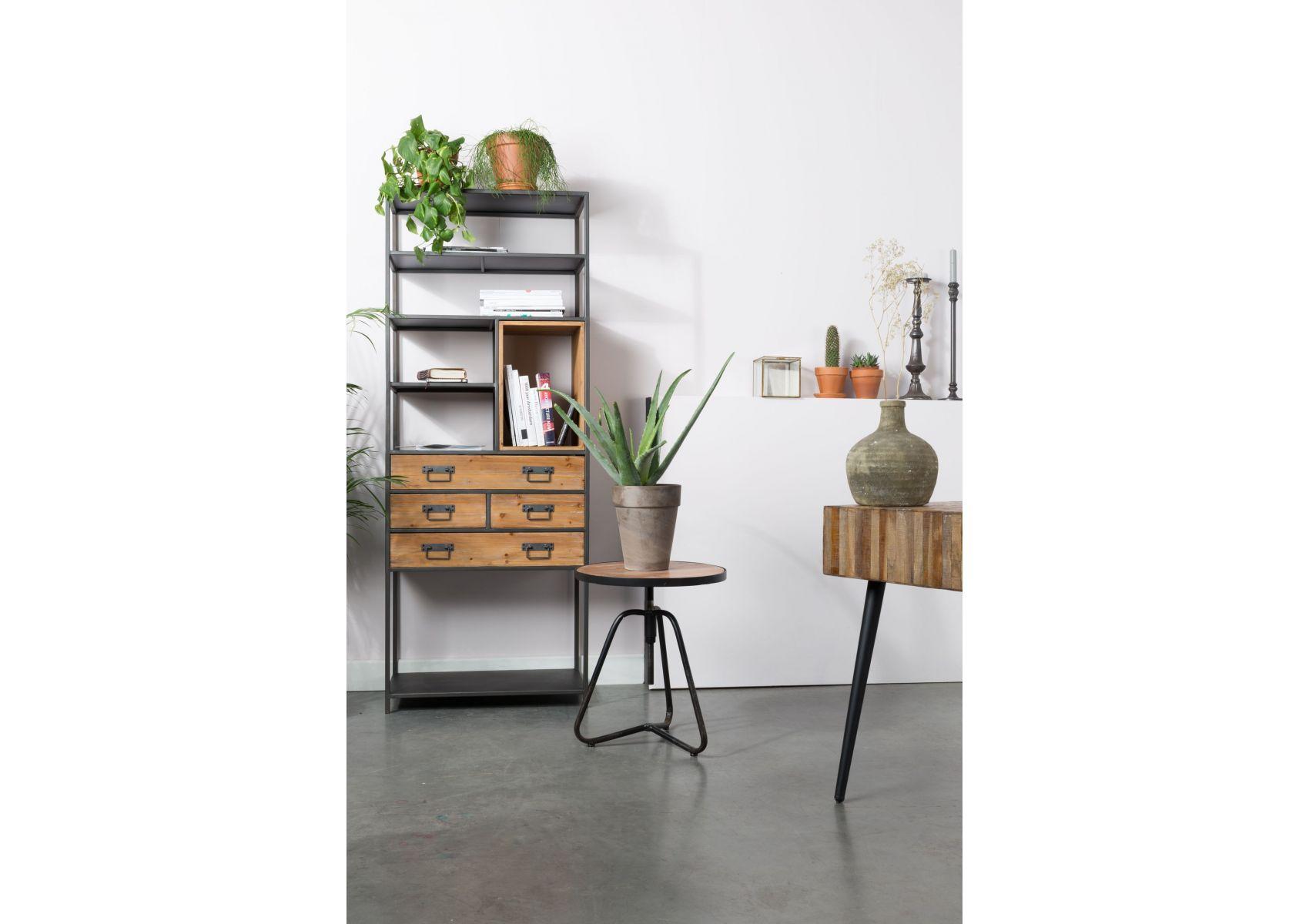 meuble de rangement m tal et bois samuel boite design. Black Bedroom Furniture Sets. Home Design Ideas