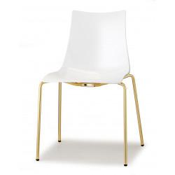 Chaise design blanche pieds laiton Zebra - Scab design