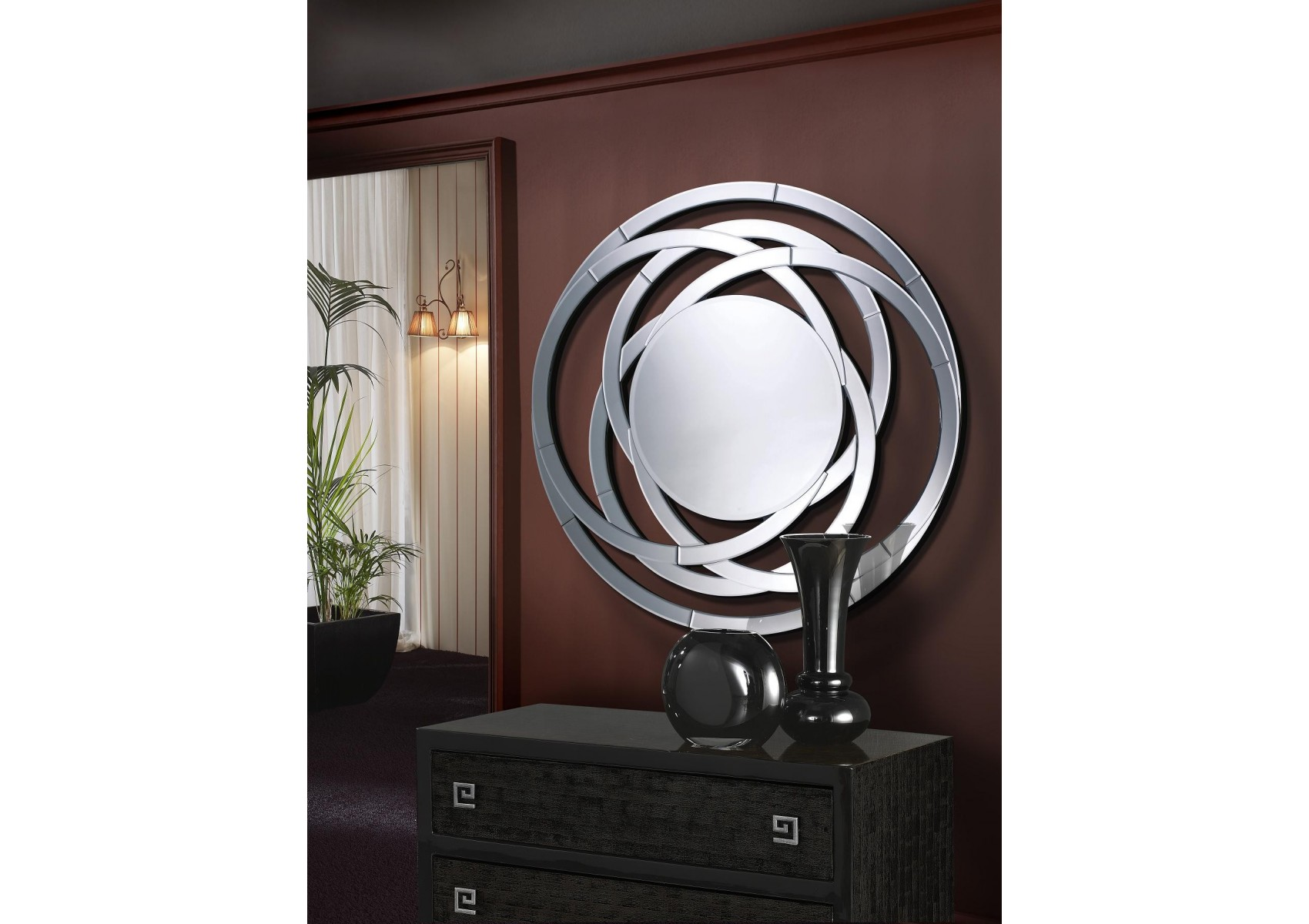 miroir rond design de la collection aros de chez schuller