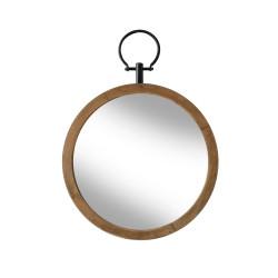 Miroir rond déco en bois naturel Flint 40 cm