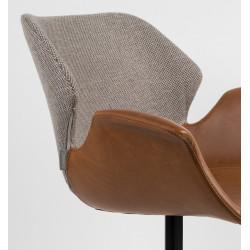 Fauteuil design cuir et tissu - NIkki zuiver