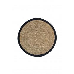 Tapis rond 87 cm en jacinthe d'eau ESTELLO couleur noir - RedCartel