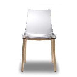 2x Chaises transparentes design avec pieds bois - NATURAL ZEBRA Antishock transparent - déco originale