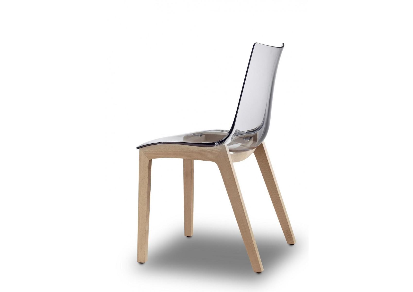 2x chaises transparentes design avec pieds bois natural zebra antishock transparent d co - Chaise transparente pied bois ...