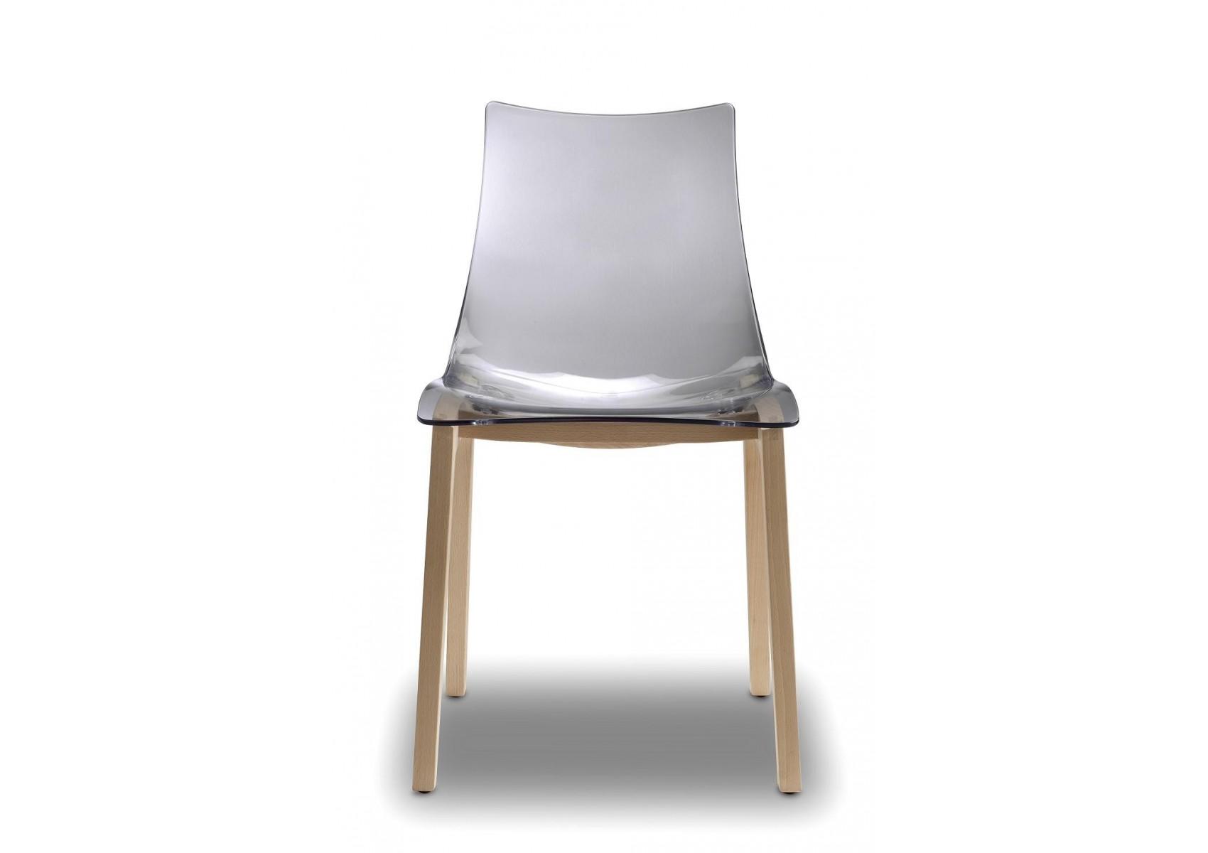 2x chaises transparentes design avec pieds bois natural for Chaise transparente pied en bois