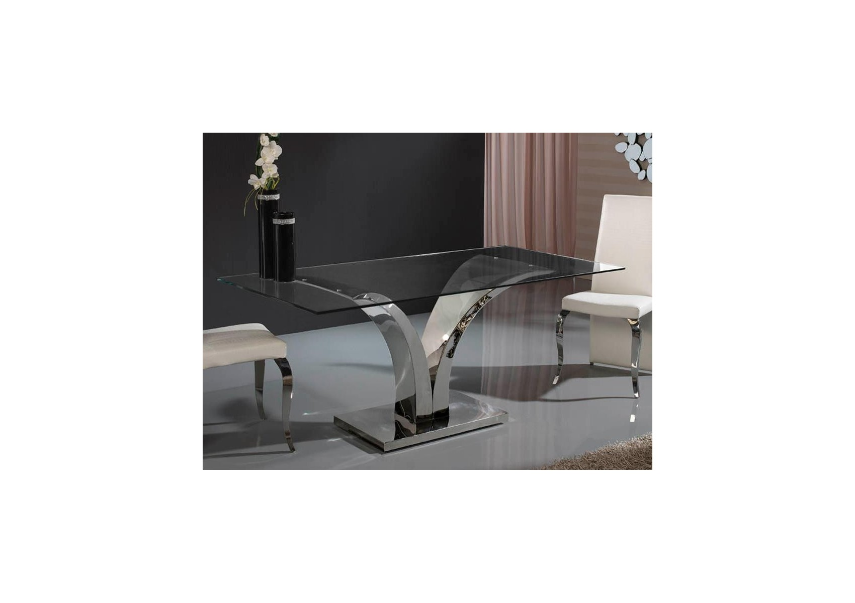 Table design de salle a manger rectangulaire en verre et for Table salle manger art deco