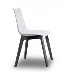 Chaise design avec pieds bois wengé - NATURAL ZEBRA Antishock blanche - Vendu à l'unité - déco originale