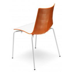 Chaise design avec pieds blanc - A l'unité - ZEBRA BICOLORE - deco scab