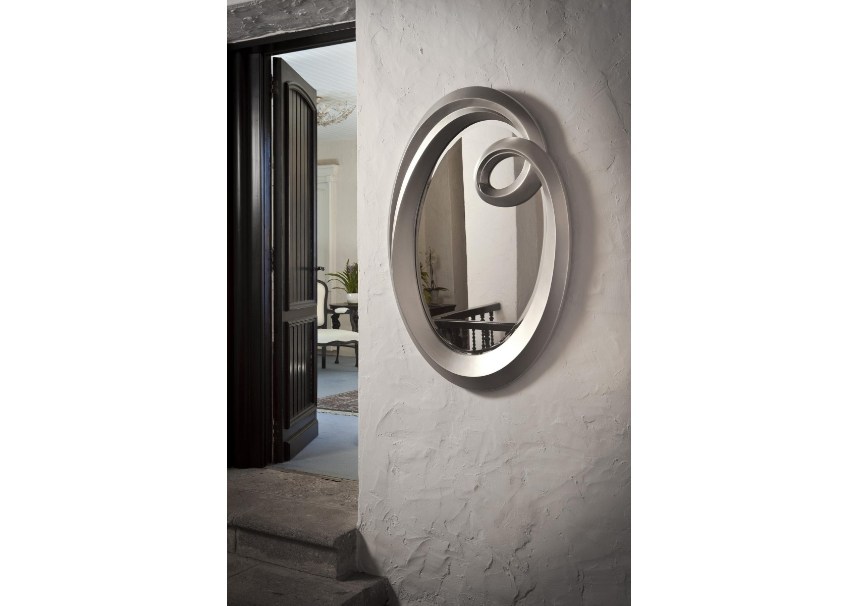 "Miroir ""Ronda"" design - finition feuille d'argent - deco schuller"
