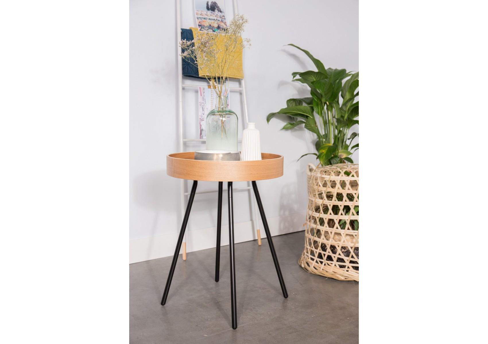 Table basse Oak Tray à plateau mobile design Boite à design