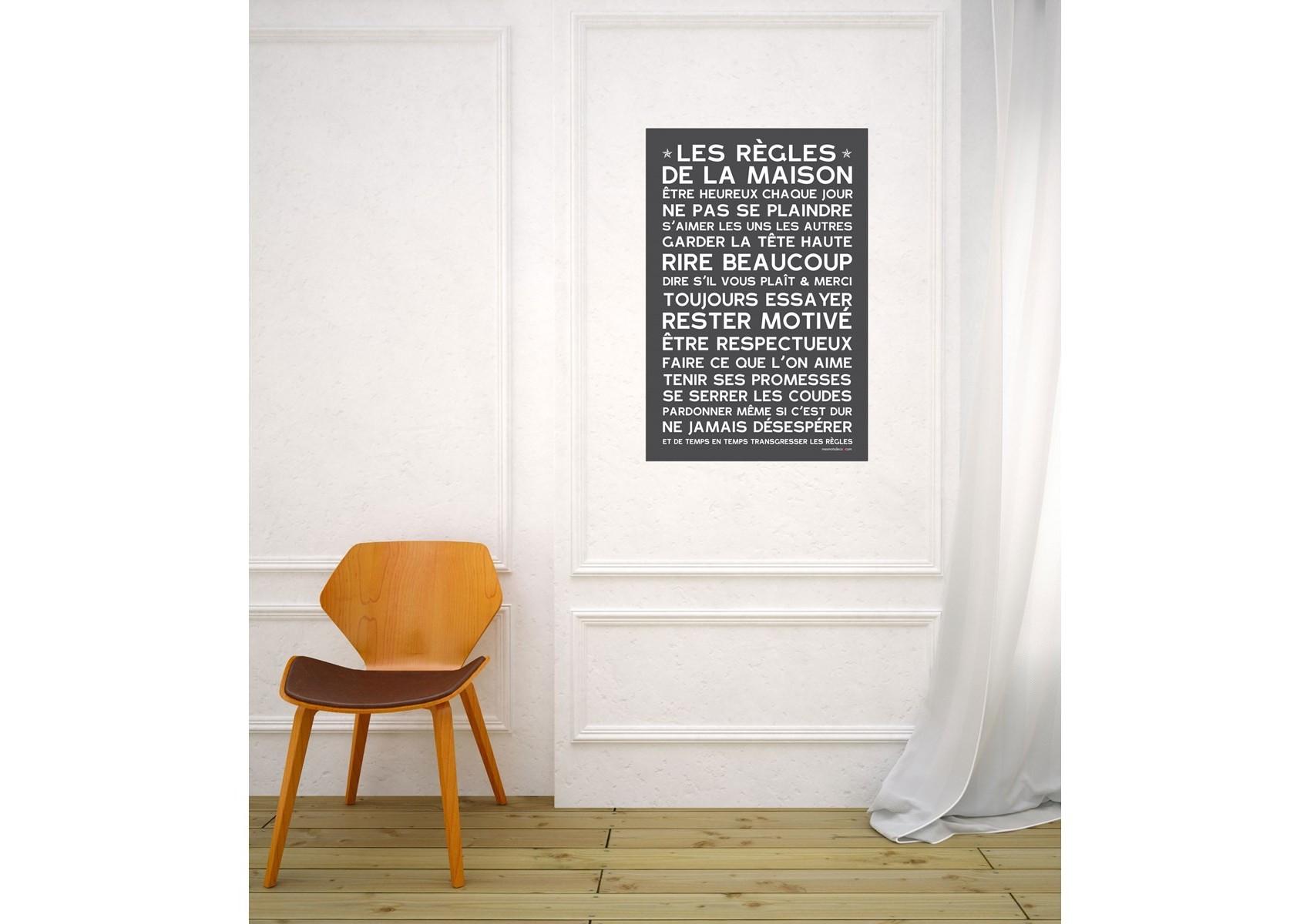 sticker papier les r gles de la maison 60 40 cm. Black Bedroom Furniture Sets. Home Design Ideas