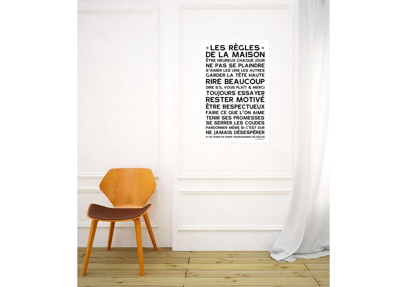 sticker papier les r gles de la maison gris 45 30 cm. Black Bedroom Furniture Sets. Home Design Ideas