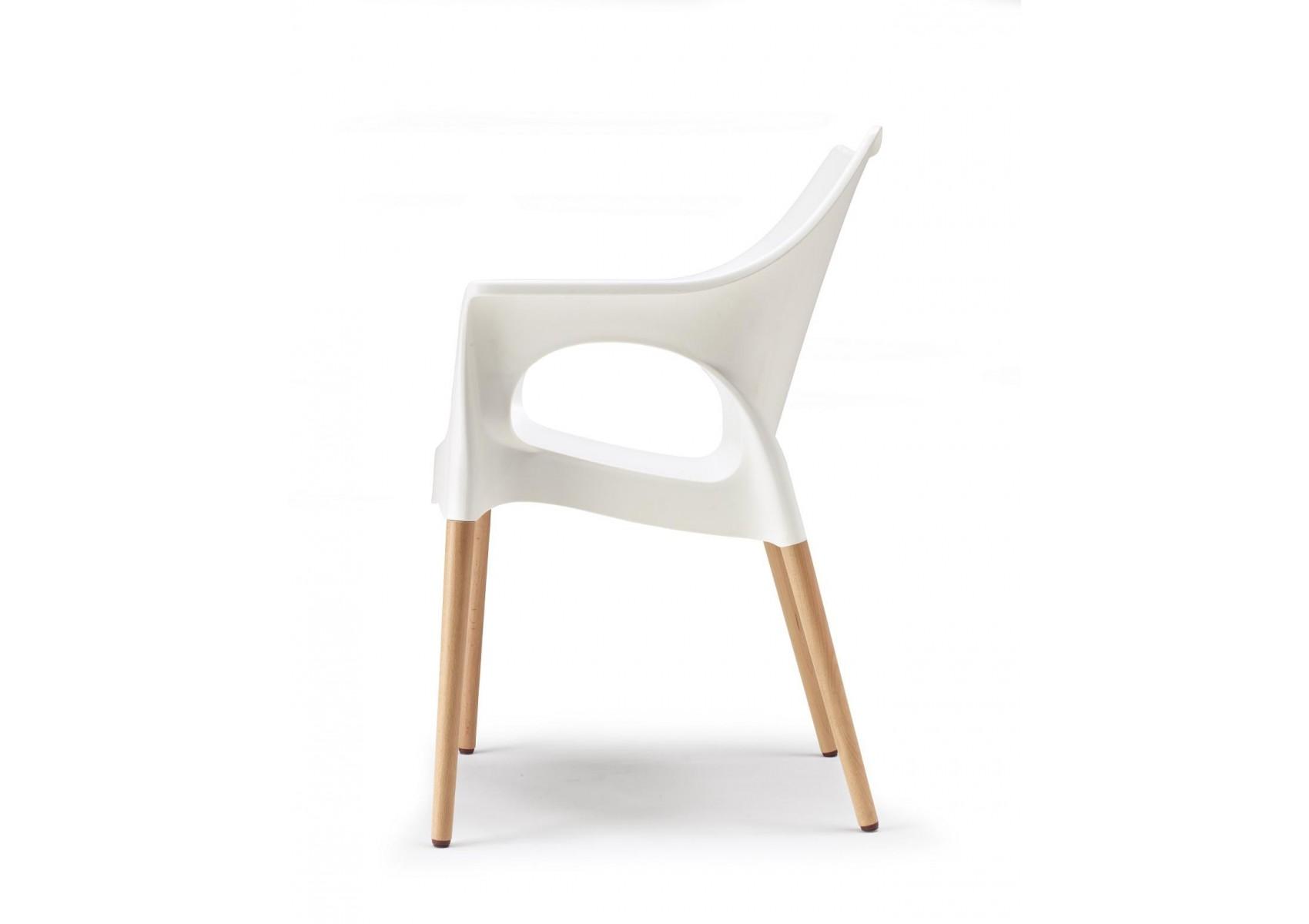 Chaise avec pieds bois naturel natura ola vendu l for Chaise blanche avec pied bois