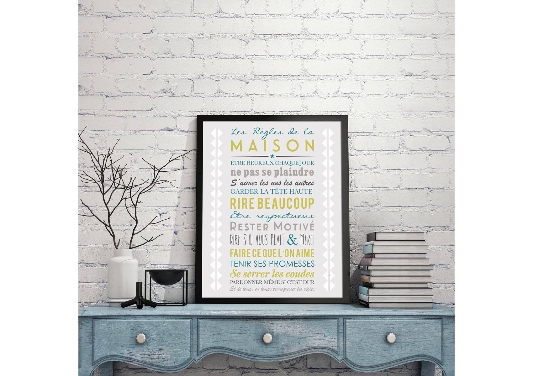 Poster encadrer les r gles de la maison gris 40 50 cm for Cadre les regles de la maison