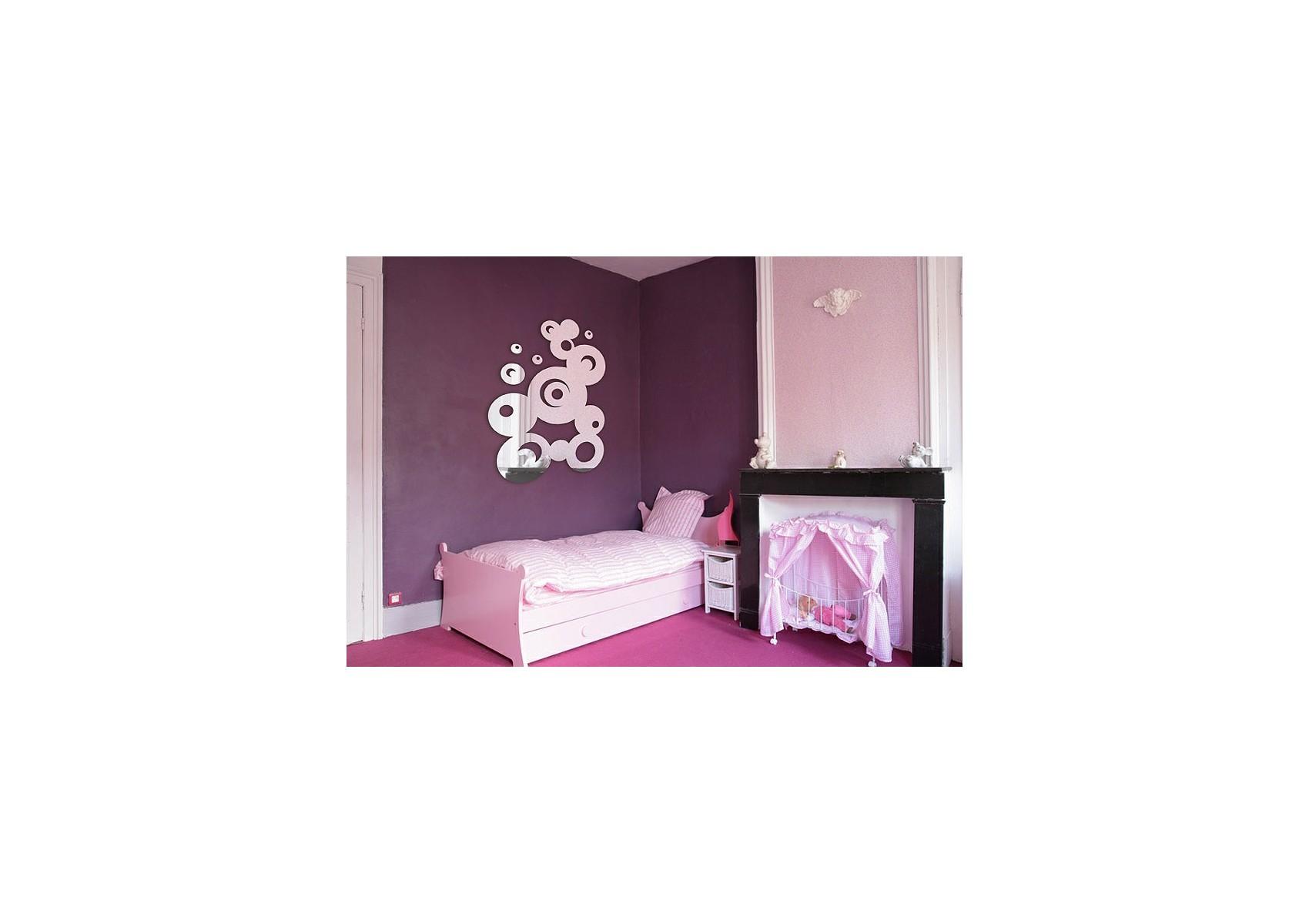 miroir d co bulles fresque ronde avec d tails en acrylique. Black Bedroom Furniture Sets. Home Design Ideas
