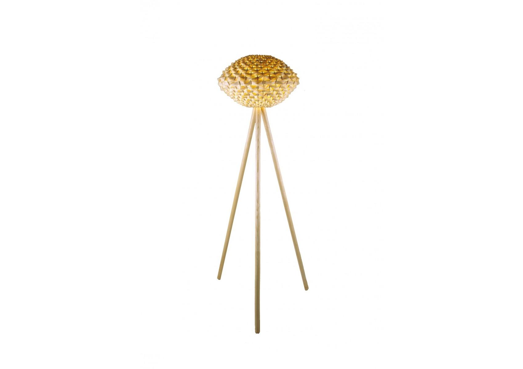 Lampadaire design Triolo ls en bois et bambou naturel Boite à design