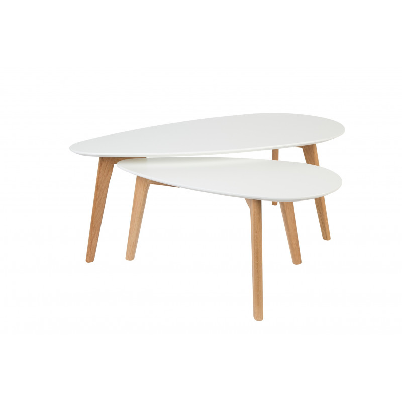 Tables basse scandinave drop laqu e blanche for Table laquee blanche