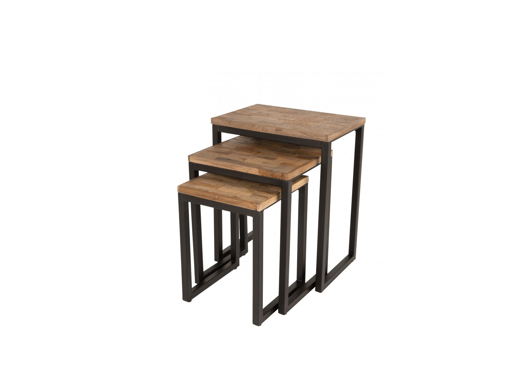 table basse gigogne suri bois et m tal set de 3 boite. Black Bedroom Furniture Sets. Home Design Ideas