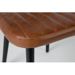 Chaise industriel cuir cognac industrielle marron et noir