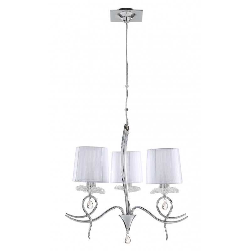 Suspension baroque 3 lampes louise boite design for Suspension luminaire 3 lampes