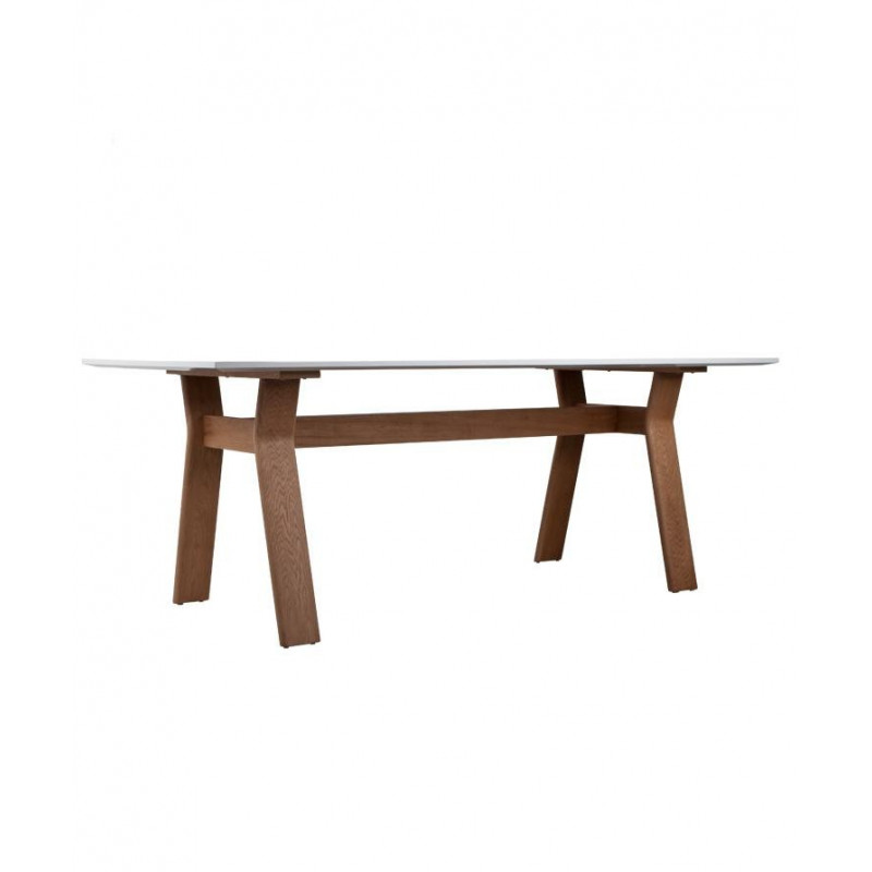 Table repas ou bureau table high on wood blanche et - Table blanche pied bois ...