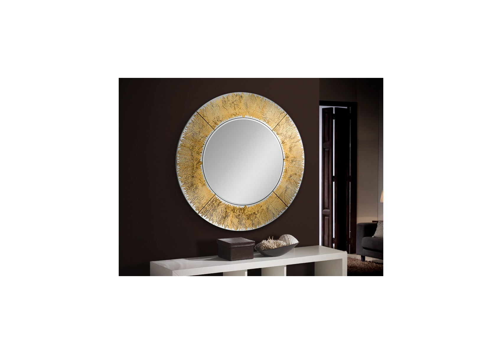 Miroir rond aurore design verre or for Miroir design rond
