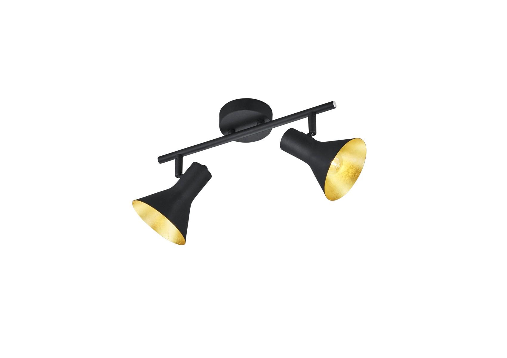 Plafonnier nina deux lampes de couleur noir mat et or for Plafonnier style industriel
