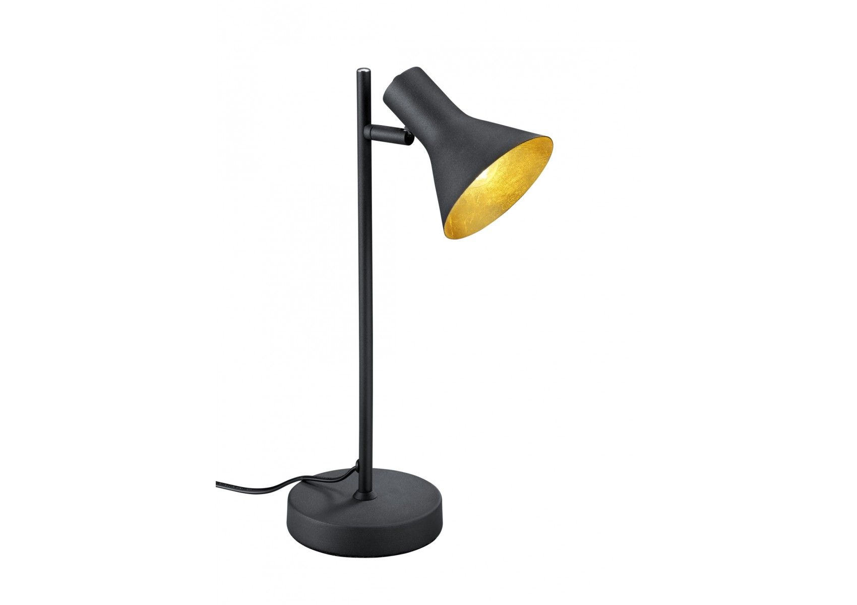 Lampe poser nina couleur noir et int rieur or for Lampe a poser but
